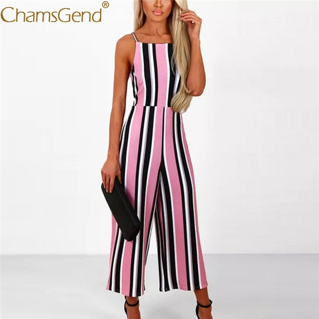 eb0de9516cca Free Shipping Women Sleeveless Strappy Pink Striped Jumpsuit ...