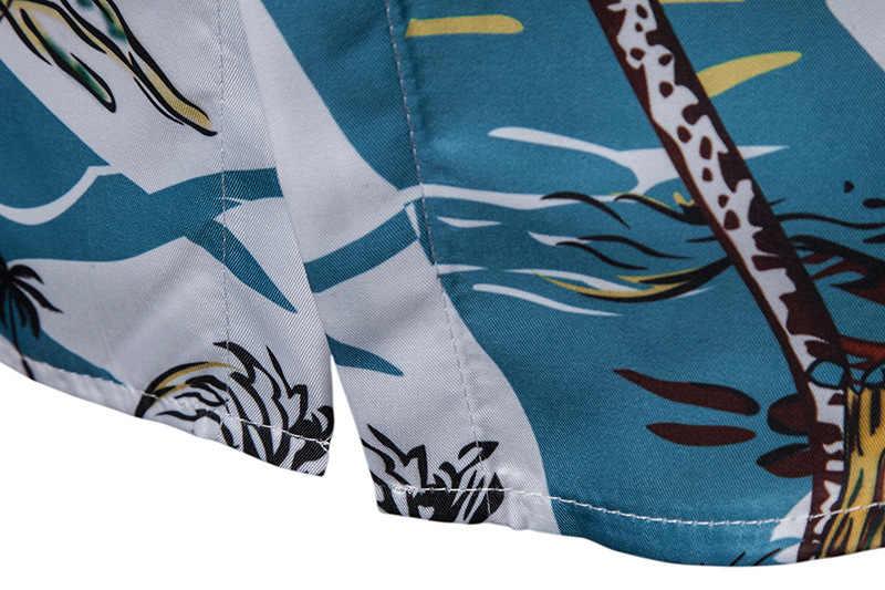 Мужская s 3D пальмовое дерево принт тропическая Мужская рубашка навыпуск с ярким рисунком 2019 новая брендовая приталенная рубашка с коротким рукавом мужские вечерние праздничные Повседневная Женская сорочка Homme