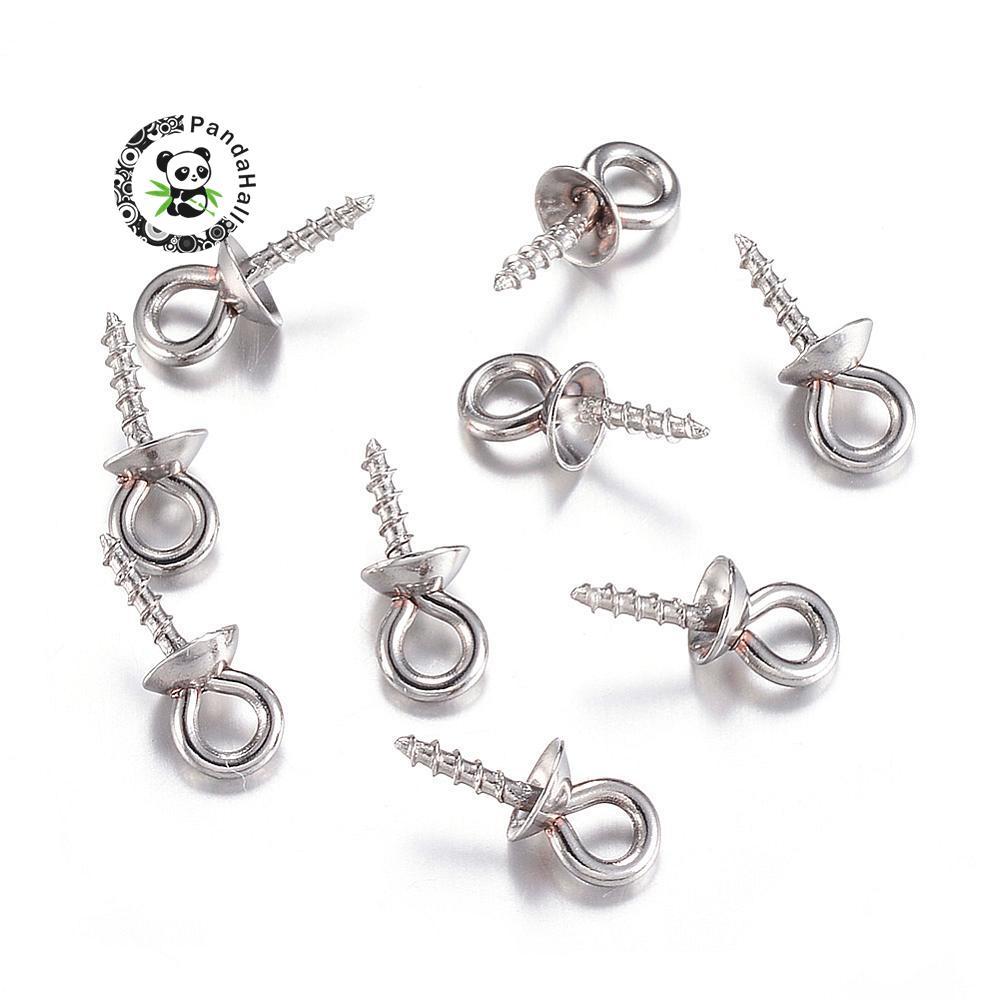 PandaHall 200pc 304 Stainless Steel Screw Eye Pin Bail Peg