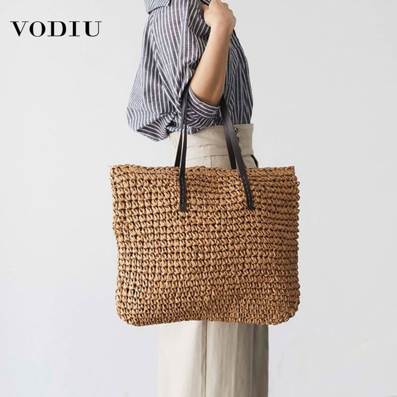 Women Straw Bags Beach New Summer Weaving Simple Leisure Vacation Travel Tide Colors Big Capacity Braided Shoulder Bag Female