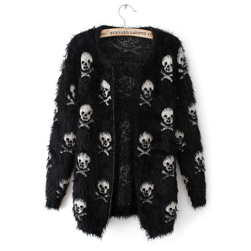 2019 Short Women Autumn Sweater Mohair Skulls Printing Female Outwear Cardigans Short Knitted Womens Cardigans