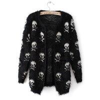 2021 maglione corto da donna autunno Mohair teschi stampa cardigan Outwear femminile maglione cardigan da donna corto morbido lavorato a maglia fresco