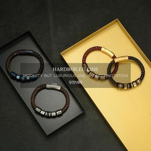Image 5 - REAMOR New Classic Men Hand craft Genuine Leather Bracelet Stainless Steel Matte Button Clasp Bangles Jewelry Dropshipping