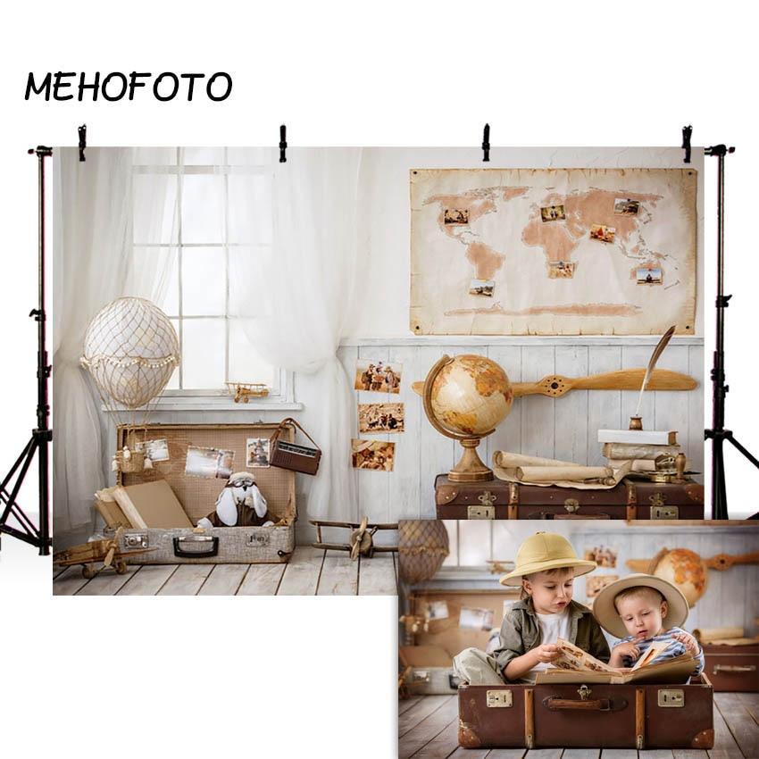 MEHOFOTO Children Travel Photography Backdrops Newborn Baby Boy Room Toy Pilot Background Photobooth Photo Studio Props