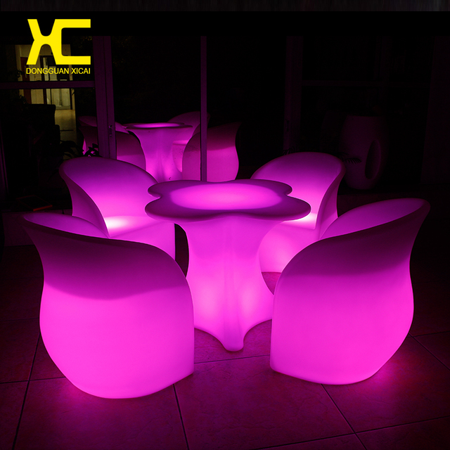 Chargeable Remote Control Lighted Cordless LED Bar Table Chair Set Plastic Hotel Bar Cafe Glowing Tables & Chargeable Remote Control Lighted Cordless LED Bar Table Chair Set ...