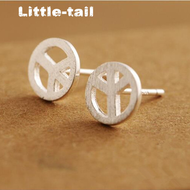 The New Listing 925 Sterling Silver Peace Symbol Earrings Anti War Standard Trend Men And