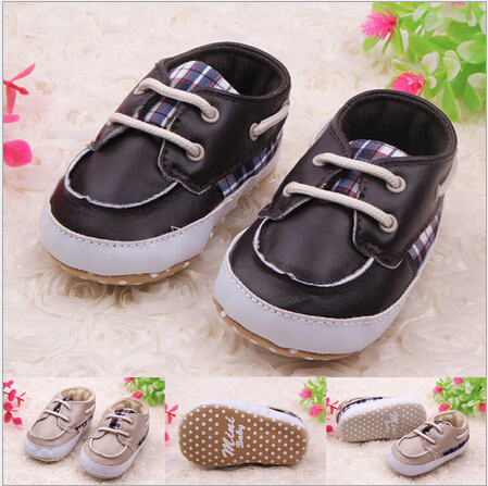 Baby Lace-up Shoes Baby Boy PU Leather First Walkers Kids Antiskip Unisex Shoes Footwear Freeshipping