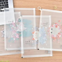 Simple Plastic Transparent Zipper Hand-held Document Bag Business Receiving File Student's A4 A5 Information