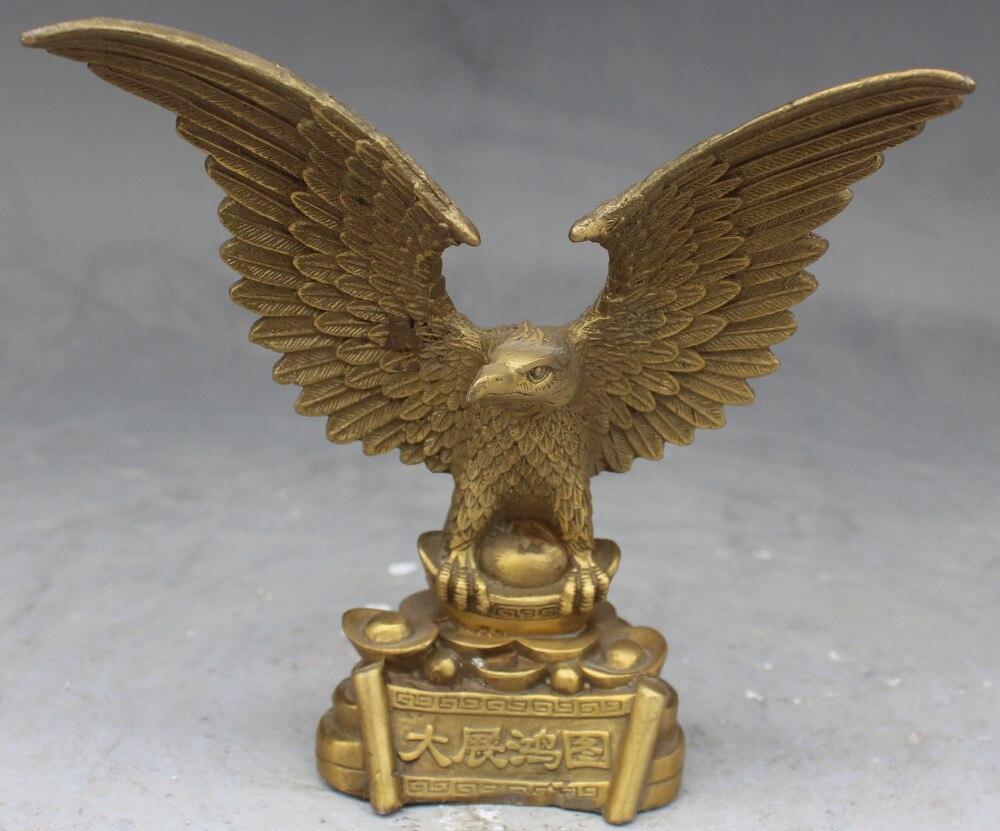 Travail manuel en laiton chinois volant ouvert perruque aigle Hawk Jove roi oiseau Statue