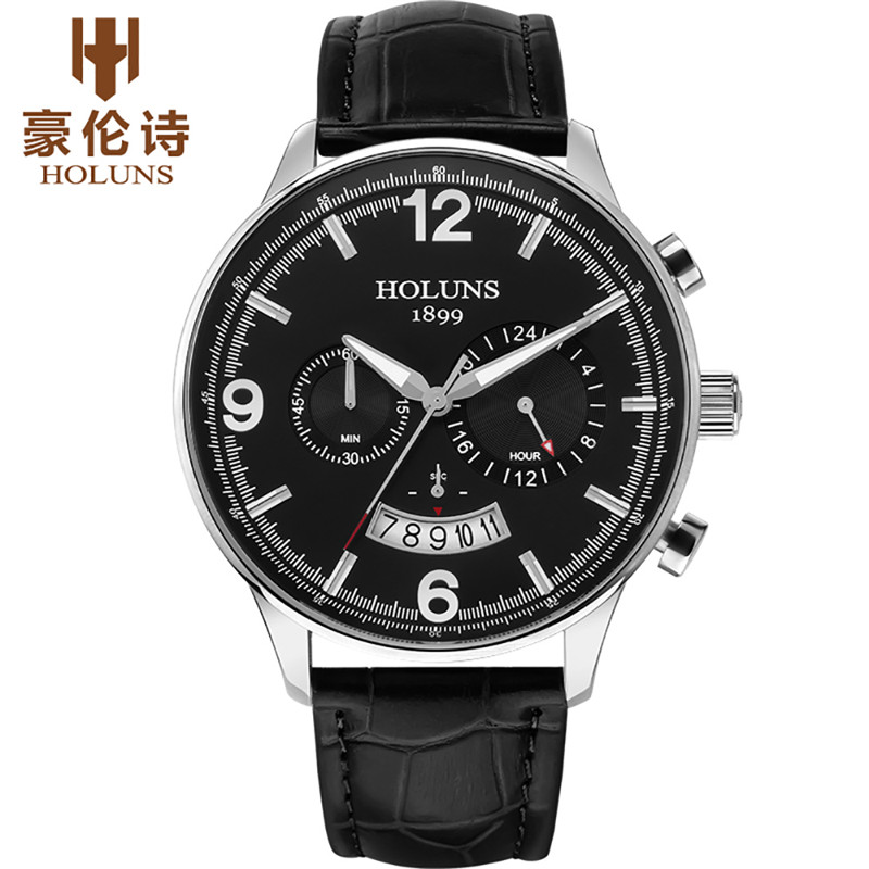 HOLUNS Men Watches 2018 Luxury Brand Business Quartz Leather Band Date Chronograph Waterproof Wrist Watch relogio masculino