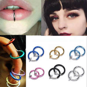 LOLEDE 2 Piece Nose Ring Ear Fake Piercing Earrings