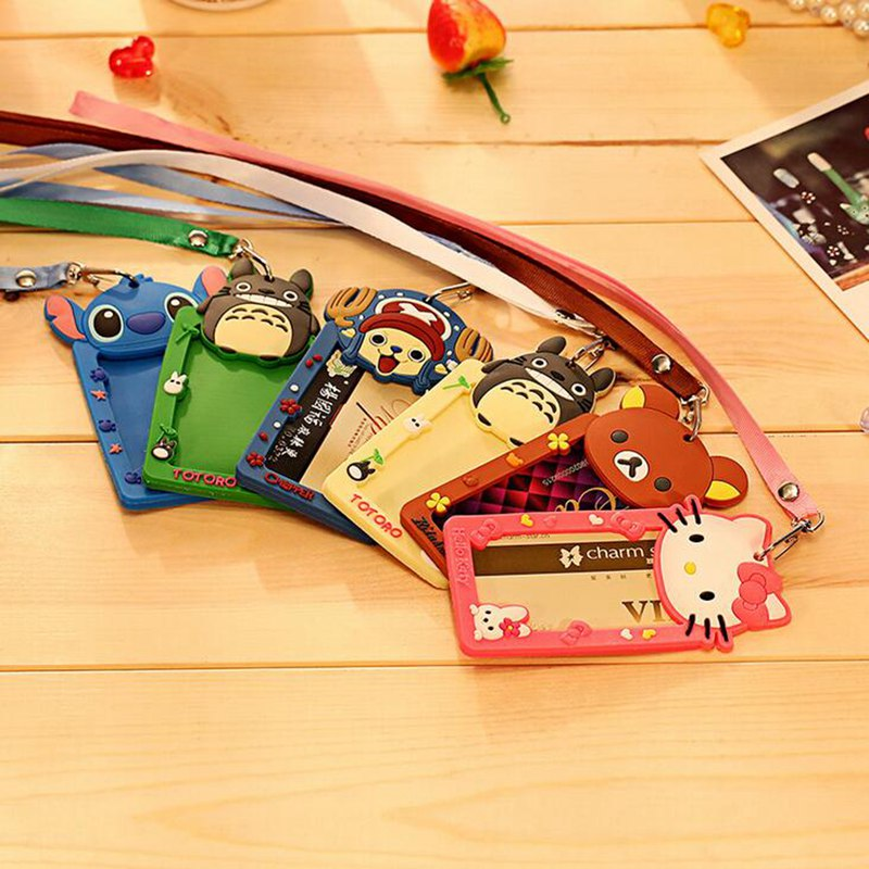 Cartoon Totoro Hello Kitty Bank Credit Card Holders Women Men Silicone Neck Strap Card Bus ID Holders Identity Badge Lanyard silicone cartoon cute id credit card holder bus card student id badge id name business credit cards cover unistyle