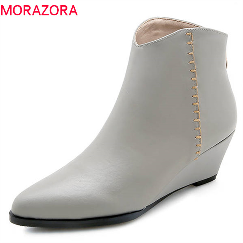MORAZORA 2018 top quality genuine leather ankle boots for women solid colors autumn winter boots fashion wedges shoes womanMORAZORA 2018 top quality genuine leather ankle boots for women solid colors autumn winter boots fashion wedges shoes woman