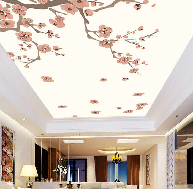 Custom 3D ceiling wallpaper. Red plum murals for the living room bedroom ceiling wall waterproof vinyl papel de parede european church square ceiling frescoes murals living room bedroom study paper 3d wallpaper