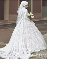 Long Sleeve Turkey Bridal Gowns Handcraft Beads Pearls Red Muslim wedding Dress Hijab Ruched Robes De Maraige wedding gowns