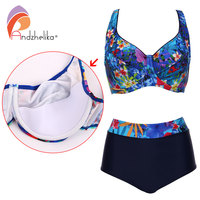 Andzhelika 2017 Plus Size Swimwear Sexy High Waist Bikinis Women Deep Soft Cup Swimsuit Floral Print