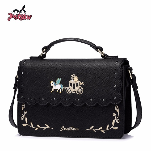 Just Star Women S Leather Handbags Las Fashion Hollow Out Flower Tote Purse Female Embroidery Flying Horse