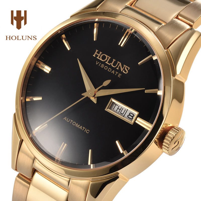 Luxury HOLUNS watch men sapphire waterproof  date stainless steel automatic machine gold watch relogio masculine