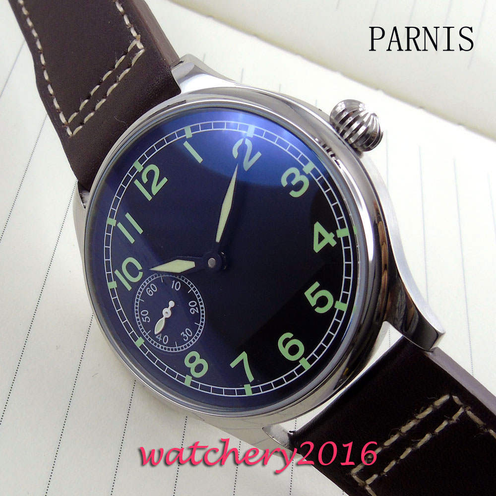 new 44mm Parnis black dial green numbers hand winding 6497 movement Men's business Watch цена