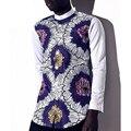 2016 лето Африканских мужчин одежды анкара dashiki воск батик печать чистый хлопок с длинным рукавом кнопки мужская рубашка топы бесплатная доставка