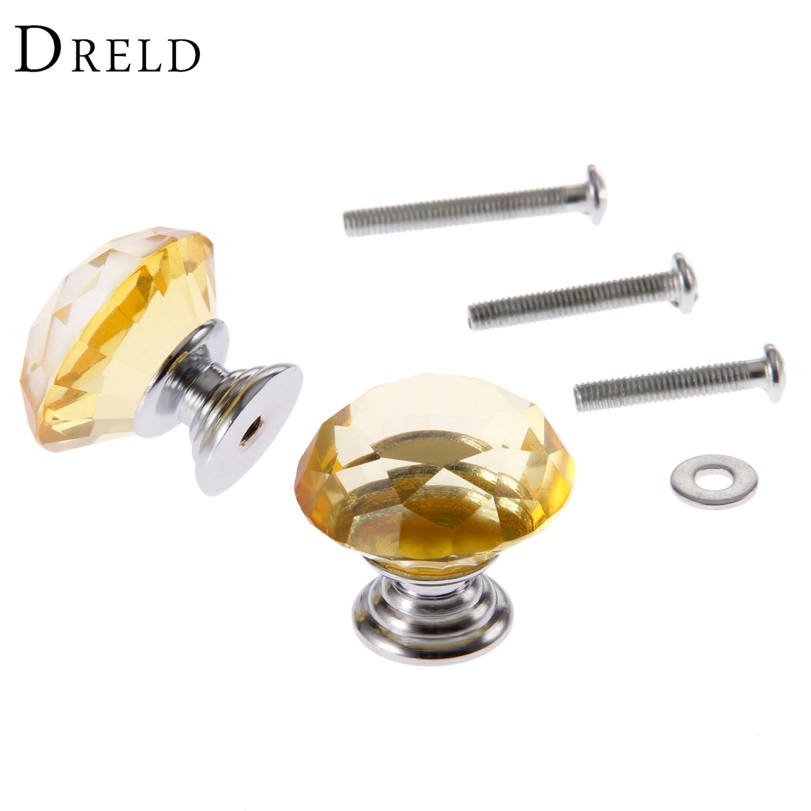 DRELD 2Pcs 30mm Diamond Crystal Drawer Pulls Glass Door Cabinet Wardrobe Pull Knobs Yellow Furniture Handles + 6Pcs Screws lhll 12x clear crystal glass door knobs drawer cabinet furniture pull handles