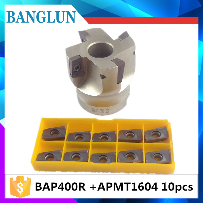 BAP400R 50 22 4T BAP 400R 63 22 4T BAP 400R 80 22 4T Flute Face End Mill Flat Cutter +10pcs APMT1604PDER Carbide Inserts precision m16 bt40 400r 63 22 face endmill and 10pcs apmt1604 carbide insert new