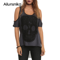Ailunsnika Short Cold Shoulder T Shirts Women Summer Sexy Mesh Back See Through Top Women Pullover