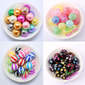 Free Shipping 100Pcs/Lot 20MM Chunky Bubblegum Acrylic Printed Fake Pearl Beads And Stripe Rhinestone Beads For Kids Handmade