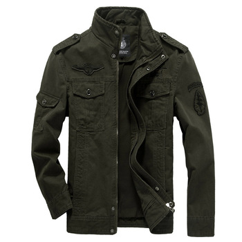 Bawełniana kurtka wojskowa mężczyźni 2020 jesień żołnierz MA-1 styl kurtki wojskowe męskie marki Slothing męskie kurtki-pilotki Plus rozmiar M-6XL tanie i dobre opinie HANQIU zipper jacket men REGULAR STANDARD NONE Poliester Szeroki zwężone Stałe Patch wzory Na co dzień COTTON MANDARIN COLLAR