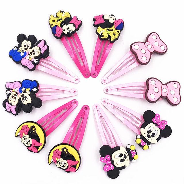 10PCS Mickey Minnie Bow tie Wave point Donald Duck PVC Cartoon Hairpins Girls Hair accessories Barrette Hair Clips Hairwear