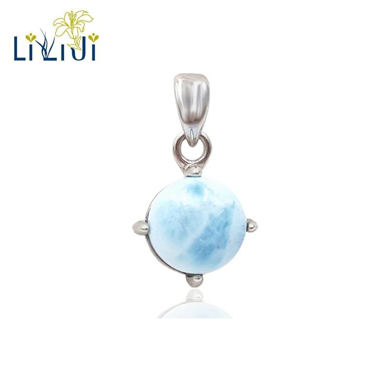 цена на LiiJi Unique Natural Caribbean Blue Larimar 925 Sterling Silver Round Shape Pendant for women gift