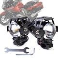Motocicleta 1 par negro u5 lámpara reflector led luz de niebla del faro de conducción fit para harley bobber chopper honda yamaha kawasaki atv