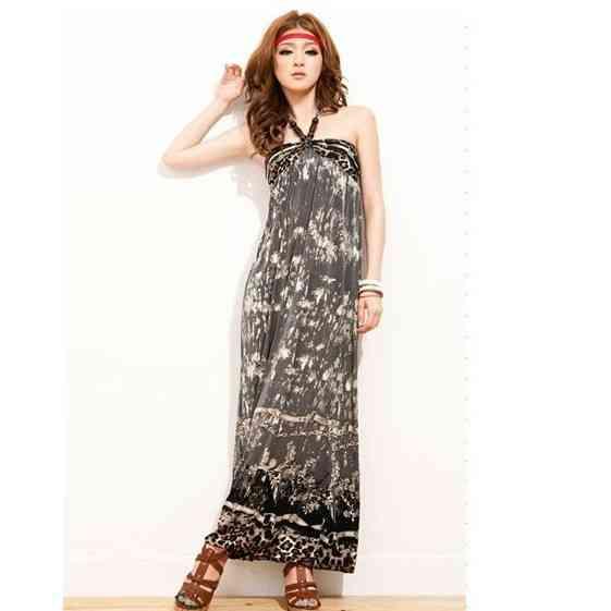 bd98646062 Free Shipping Bohemian hanging neck strap gown tie dye ink tube top dresses  Beach dress 1437250618 on Aliexpress.com