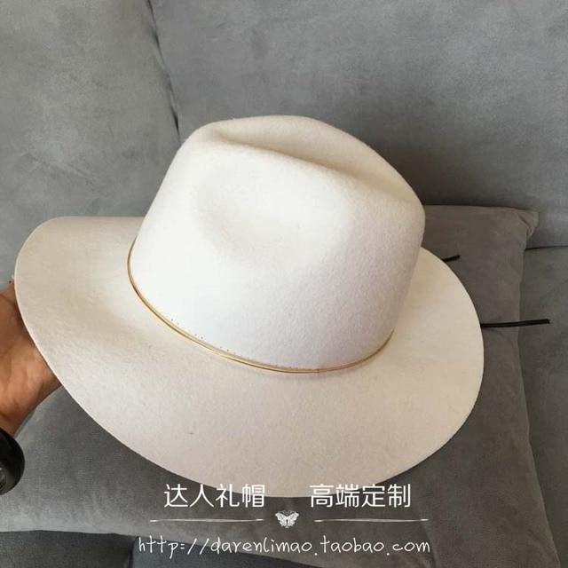 2017 nuevo sombrero de lana delgada tapa del anillo de metal blanco de ala ancha sombrero para el sol sombrero femenino de la manera