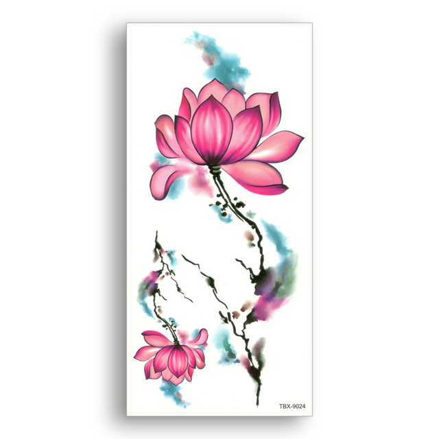5ceb72b60 Waterproof Tattoo Stickers Half Sleeve leg Temporary fake Tattoos lotus  watercolor Women Body Art Flower arm Shoulder Decoration