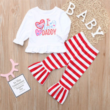 6a94bc0d2 2pc sweet baby kids girl letter heart love dress tops striped pants set  valentine outfits new