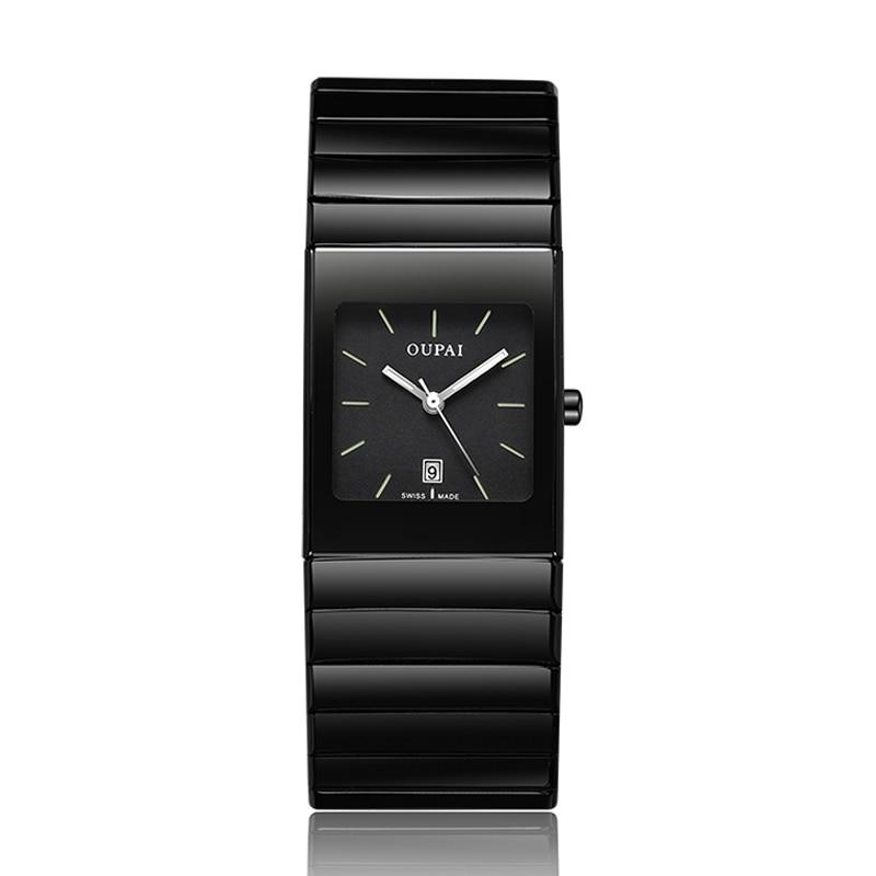 OUPAI Tritium lumière hommes montre Quartz noir châtelain en céramique calendrier Date Tritium lumineux étanche militaire plongée montres