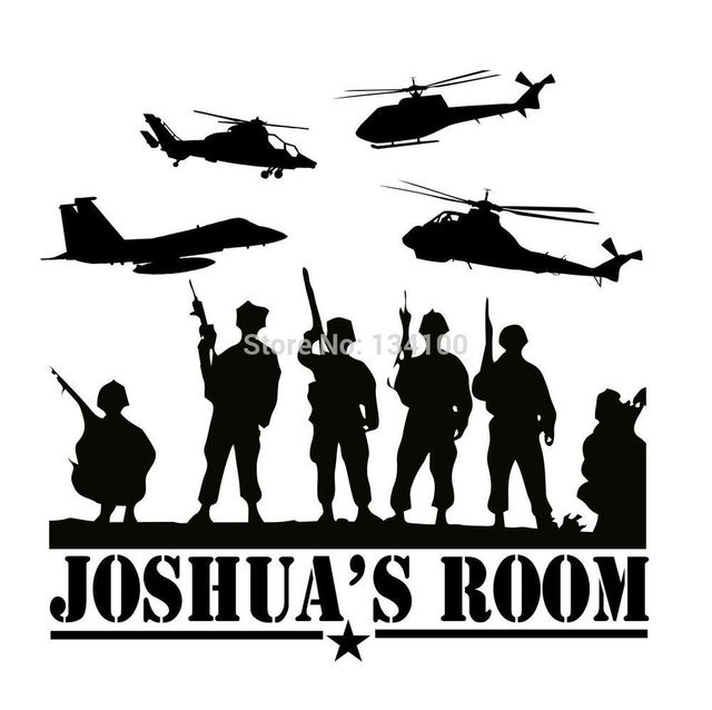 Custom made personalized army marines navy vinyl wall decal for boys bedroom military you