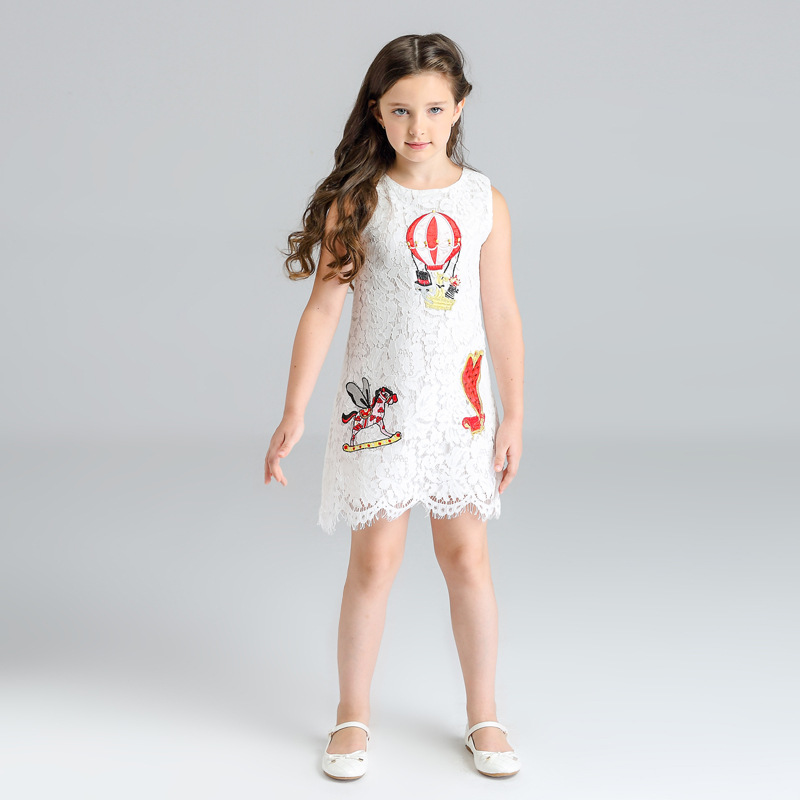 Girls Lace Summer Dress 2018 Kids Party Dresses for Girls Baby Girls Cartoon Dress Children Casual Style Clothing