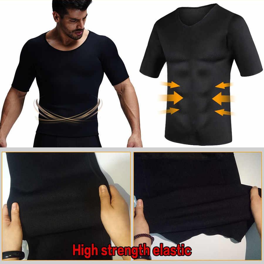 Для мужчин, облегающая футболка одежда для коррекции фигуры жилет с коротким рукавом термо сауна Корректирующее белье для похудения неопрен пот, сжигание жира корсеты
