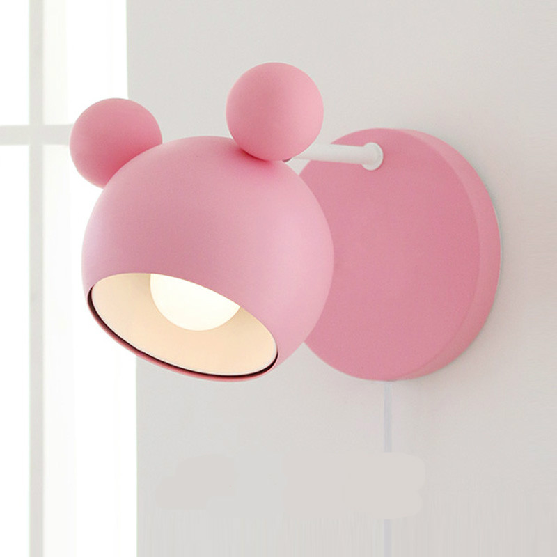 New Pastoral Lovely Creative Iron Cartoon Mouse Led E27 Wall Lamp For Princess/ Girl Bedroom Bedside Living Room Lamp 1988 m sparkling td303 creative cartoon 3d led lamp page 6