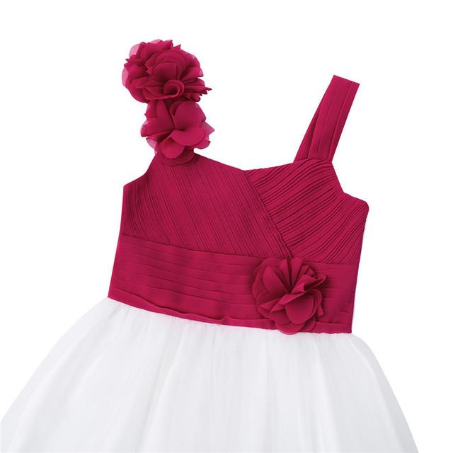 Long Chiffon Burgundy Flower Girl Dress