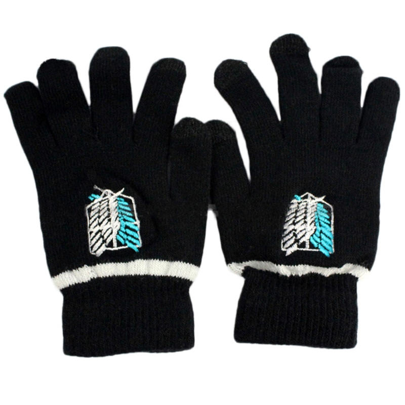 67de17afc Fashion Gloves Anime Naruto Attack On Titan Black Butler Death Note Full  Finger Plush Knit Glove Mitten Cosplay Screen Touchable