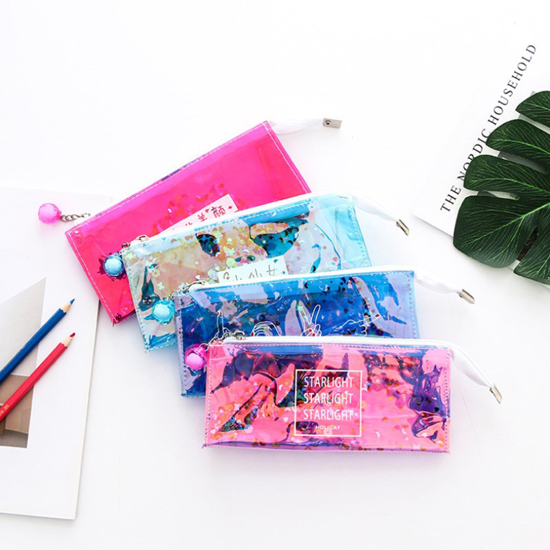 Kawaii Laser Transparent Pen Case Creative Sequin Pencil Boxs Large Capacity Pencilcase For Girls Back To School Office Supplies