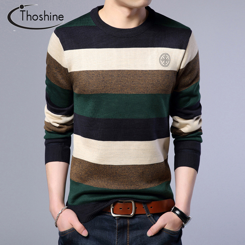 Thoshine Brand Spring Autumn Style Men Knitted Thin Sweaters O-Neck Striped Pattern Cashmere Pullovers Casual Knitwear Long Tops