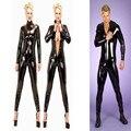 2016 Más El Tamaño S-XXL de Los Hombres de Las Mujeres Unisex Catsuit Atractivo Del Látex Negro Full Body PVC Jumpsuit Clubwear Traje Traje de Cuero de Imitación