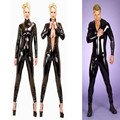 2016 Plus Size S-XXL Men Women Unisex Sexy Latex Catsuit Black Full Bodysuit PVC Jumpsuit Clubwear Faux Leather Costume Bodysuit