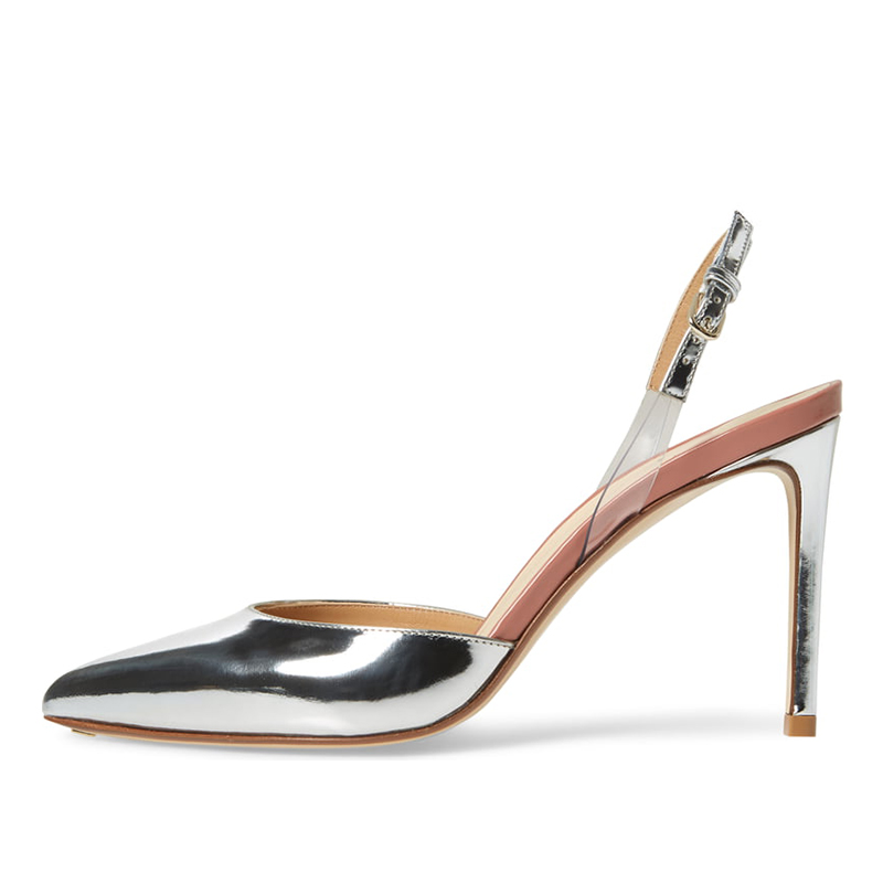 Womens Pointed Toe High Heels Sliver Slingback Pumps Nude Patent Leather Closed Toe Heeled Slingbacks Ladies Bridal Shoes 2019 Scholl Shoes Silver