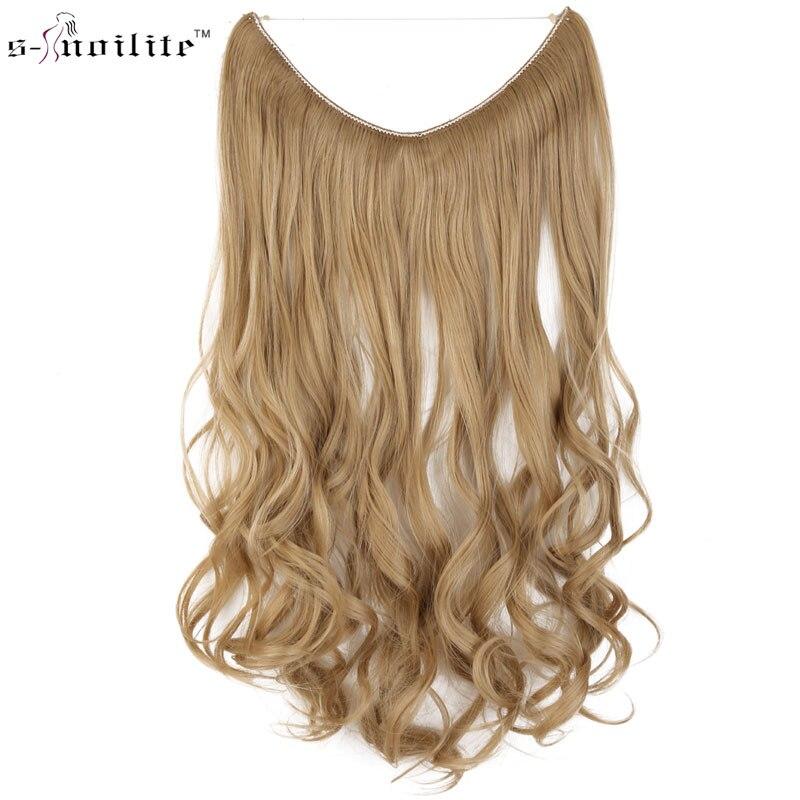 SNOILITE Lange Copslay Extension Synthetische Haar Hitzebeständige Haarteil Fisch Linie Gerade Haar Braun Blond