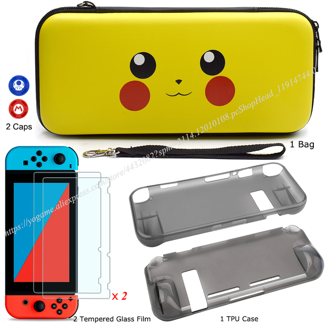 Nintendos Switch Storage Carrying Case + Nintend Switch Screen Protetor Galss Film + Soft TPU Case for Nintendo Accessories